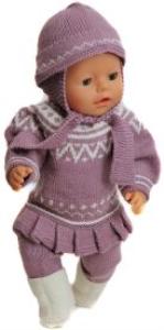 DollKnittingPatterns 0142D BELLA - Tuniek met een plooirand, kousenbroek, witte schoentjes in ribbelsteek, Muts-(Nederlands) | Crafting | Knitting | Other