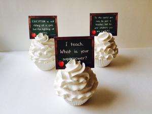 teacher cupcake tops - green chalkboard