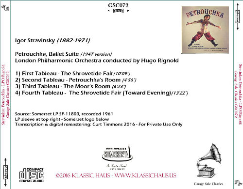 First Additional product image for - Stravinsky: Petrouchka - Ballet Suite (1947 version) - London Philharmonic Orchestra/Hugo Rignold