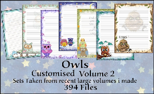 "Printable Stationary Designs Custom Stationary Selection Volume ""Owls  2"" 