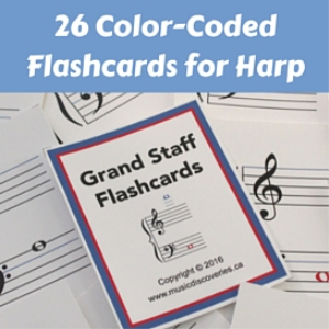 harp flashcards - 26 color-coded notes