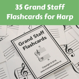 harp flashcards - 35 grand staff notes