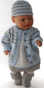 DollKnittingPatterns 0143D SOPHIA (Februar)-  Jakke, Kjole, Lue, Strømpebukse og Sko-(Norsk) | Crafting | Knitting | Other
