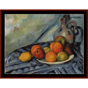 Fruit and Jug on Table - Cezanne cross stitch pattern by Cross Stitch Collectibles | Crafting | Cross-Stitch | Wall Hangings