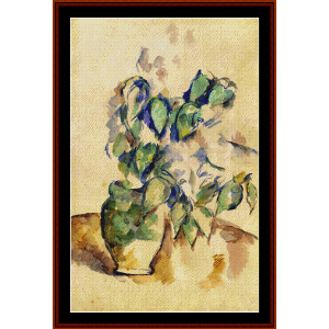 Leaves in a Green Pot - Cezanne cross stitch pattern by Cross Stitch Collectibles | Crafting | Cross-Stitch | Wall Hangings