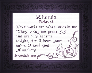 Name Blessings - Rhonda | Crafting | Cross-Stitch | Religious
