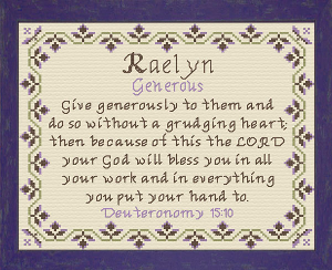 Name Blessings - Raelyn | Crafting | Cross-Stitch | Religious