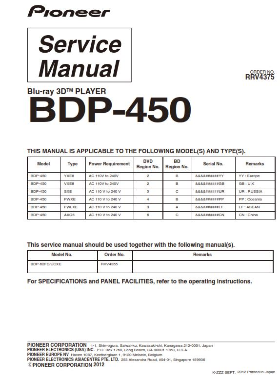 Pioneer BDP-450 3D Blu Ray Player Service Manual Repair Guide | eBooks | Technical