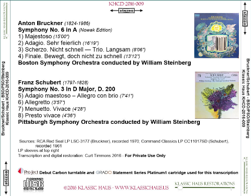 First Additional product image for - Bruckner: Symphony No. 6; Schubert: Symphony No. 3 - BSO/PSO/William Steinberg