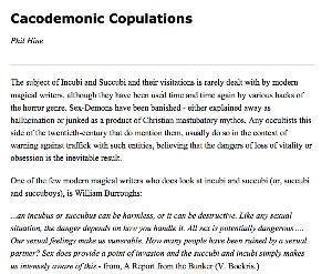 cacodemonic copulations