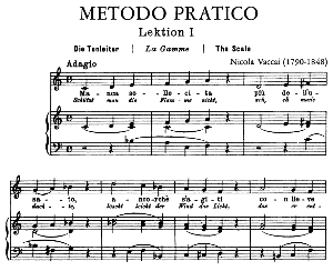 Vaccai Practical Method for Medium Voice .Edition Peters (Italian/German). First Lesson in C Major. 39 pp. High Resolution scans 600 dpi. | eBooks | Sheet Music