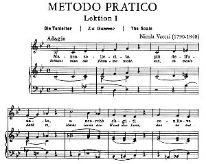 Vaccai Practical Method for Low Voice (Mezzo/Baritone). Edition Peters (italian/German). First Lesson in B-Flat Major. 39 pp. High Resolution scans 600 dpi. | eBooks | Sheet Music