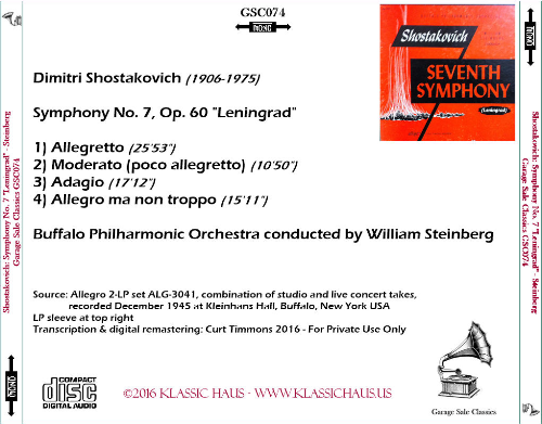 """First Additional product image for - Shostakovich: Symphony No. 7 """"Leningrad"""" - Buffalo Philharmonic Orchestra/William Steinberg"""