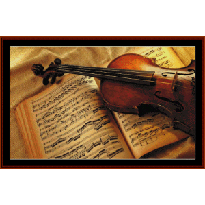 classical violin cross stitch pattern by cross stitch collectibles