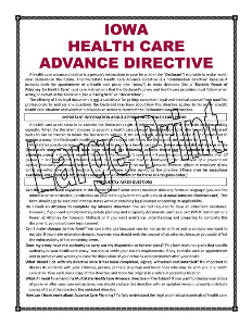 LARGE PRINT IOWA Health Care Advance Directive | Documents and Forms | Legal