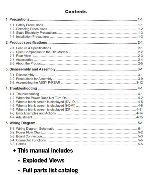 First Additional product image for - Samsung SyncMaster S23A950D S27A950D Service Manual and Technicians Guide