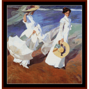 Promendade by the Sea - Joaquin Sorollo cross stitch pattern by Cross Stitch Collectibles   Crafting   Cross-Stitch   Wall Hangings