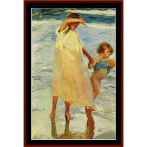 Two Sisters, 1909 - Joaquin Sorollo cross stitch pattern by Cross Stitch Collectibles | Crafting | Cross-Stitch | Wall Hangings