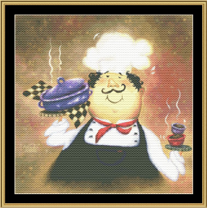 Purple Pot Chef | Crafting | Cross-Stitch | Wall Hangings