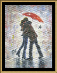 Kiss In The Rain | Crafting | Cross-Stitch | Wall Hangings