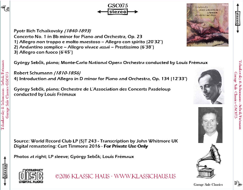 First Additional product image for - Tchaikosky: PIano Concerto No 1; Schumann: Introduction & Allegro - György Sebok/Louis Frémaux