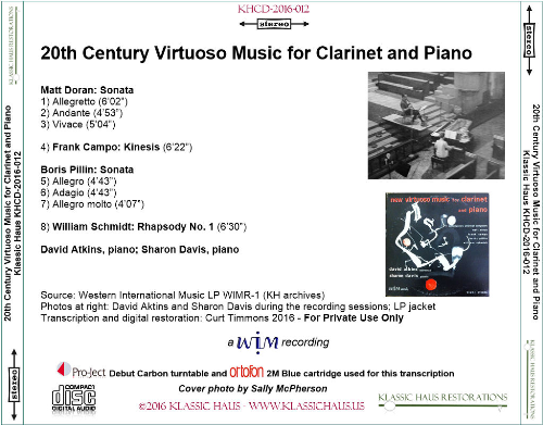 First Additional product image for - 20th Century Virtuoso Music for Clarinet and Piano - David Atkins, clarinet; Sharon Davis, piano