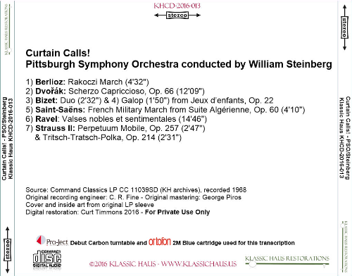 First Additional product image for - Curtain Calls! Pittsburgh Symphony Orchestra/William Steinberg