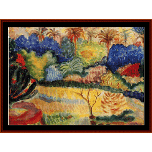 tahitian landscape, 1897 - gauguin cross stitch pattern by cross stitch collectibles
