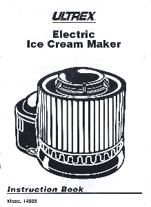 Ultrex Ice Cream Maker Manual 14009 | Documents and Forms | Manuals