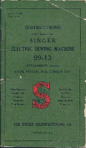 Singer 99-13 Sewing Machine Instruction Manual | Documents and Forms | Manuals