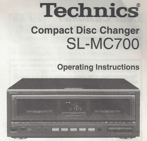First Additional product image for - Technics Compact Disc Changer SL-MC700 Manual