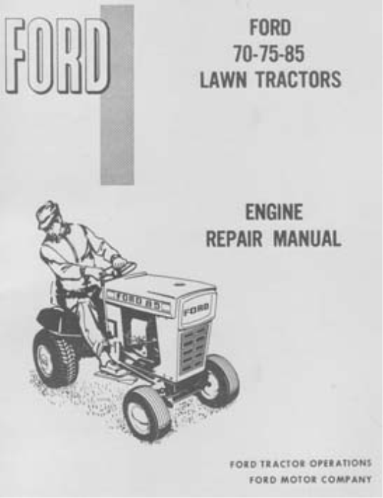 First Additional product image for - Ford Lawn Tractors Engine Repair Manual 70 75 85