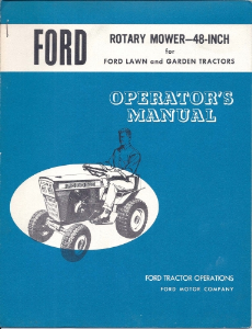 "Ford Rotary Mower 48"" for Ford Lawn and Garden Tractors Operator's Manual 