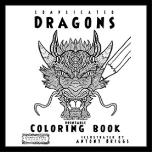 complicated dragons - coloring book - printable pdf