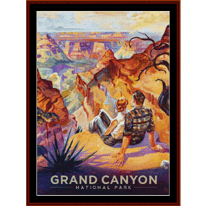 Grand Canyon - Vintage poster cross stitch pattern by Cross Stitch Collectibles | Crafting | Cross-Stitch | Wall Hangings