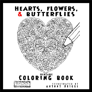hearts, flowers and butterflies - coloring book
