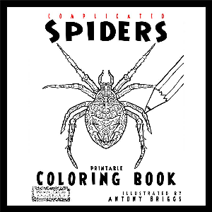 complicated spiders - printable coloring book