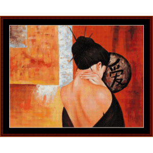 Alone - Vintage Asian Art cross stitch pattern by Cross Stitch Collectibles | Crafting | Cross-Stitch | Wall Hangings