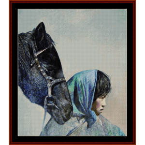 Woman with Horse - Vintage Asian Art cross stitch pattern by Cross Stitch Collectibles | Crafting | Cross-Stitch | Wall Hangings
