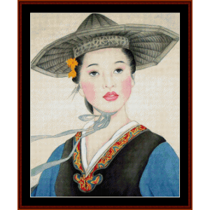 Woman in Gray Hat - Vintage Asian Art cross stitch pattern by Cross Stitch Collectibles | Crafting | Cross-Stitch | Wall Hangings