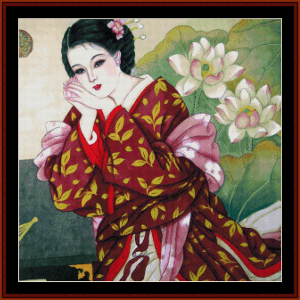 Woman with Lotus Blossoms - Vintage Asian Art cross stitch pattern by Cross Stitch Collectibles | Crafting | Cross-Stitch | Wall Hangings