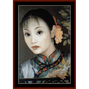 Woman with Flower in Hair - Vintage Asian Art cross stitch pattern by Cross Stitch Collectibles | Crafting | Cross-Stitch | Wall Hangings