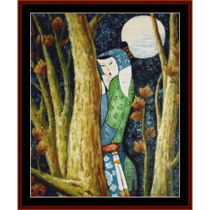 In the Moonlight - Vintage Asian Art cross stitch pattern by Cross Stitch Collectibles | Crafting | Cross-Stitch | Wall Hangings