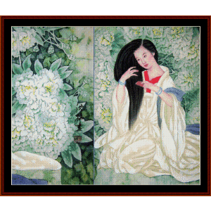 Woman Brushing Hair - Vintage Asian Art cross stitch pattern by Cross Stitch Collectibles | Crafting | Cross-Stitch | Wall Hangings