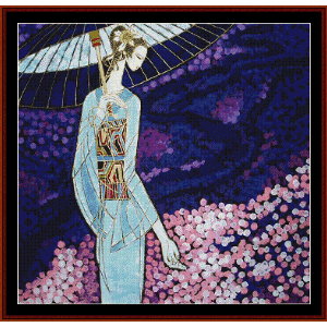 Woman with Parasol - Vintage Asian Art cross stitch pattern by Cross Stitch Collectibles | Crafting | Cross-Stitch | Wall Hangings