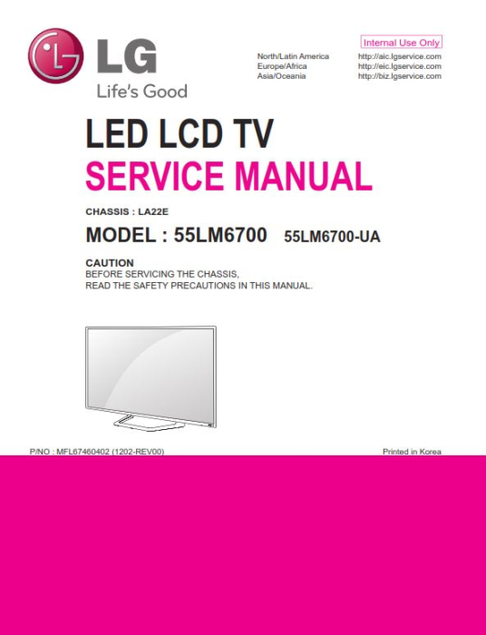 First Additional product image for - LG 55LM6700-UA Service Manual and Repair Guide