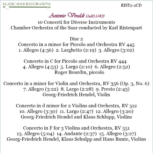 First Additional product image for - Karl Ristenpart conducts Vivaldi - Chamber Orchestra of the Saar