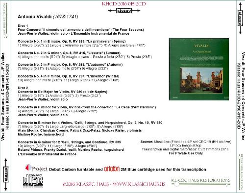 First Additional product image for - Vivaldi: The Four Seasons & Four Concerti for Strings - L'Ensemble Instrumental de France/Jean-Pierre Wallez