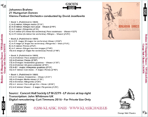 First Additional product image for - Brahms: 21 Hungarian Dances - Vienna Festival Orchestra/David Josefowitz