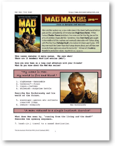 MAD MAX: FURY ROAD, Whole-Movie English (ESL) Lesson | eBooks | Education